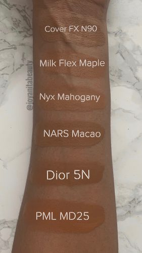 PML Skin fetish foundation comparison, deep skin swatches, dark skin swatches