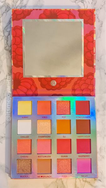 bh cosmetics, mimosa, eyeshadow palette, colorful, sunset, weekend vibes series, peaches, pinks, reds, mattes, shimmers, warm neutrals